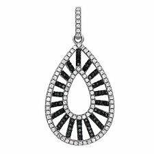 Sterling Silver Teardrop Pendant with Black and White CZ in Micro Pave Set