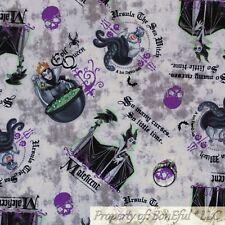 BonEful FABRIC FQ Cotton Quilt Gray White Black B&W Disney Witch Maleficent Girl
