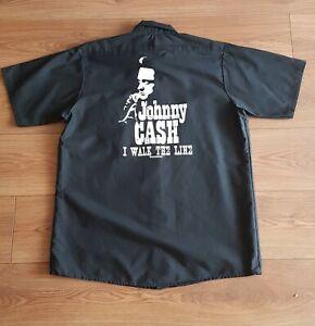 JOHNNY CASH black workshirt size Large L - NEW - official shirt I Walk The Line