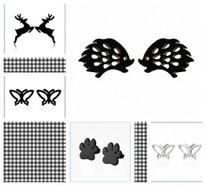 QUALITY HYPOALLERGENIC STAINLESS STEEL STUD EARRINGS BLACK ANIMAL STYLE