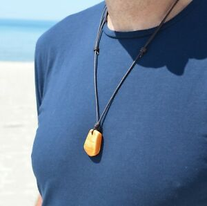 Baltic amber with leather cord necklace