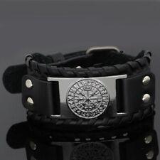 Nodic viking odin wolf leather amulet bracelet -adjustable size 19-31 cm