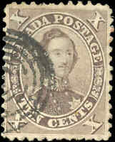 1859 Used Canada 10c F-VF Scott #17b HRH Prince Albert First Cents Issue Stamp