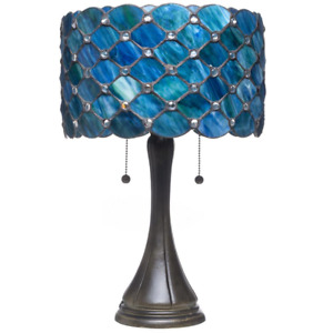 Table Lamp Contemporary Tiffany Royal Blue Jeweled Glass 2 Light Bronze 22 in.