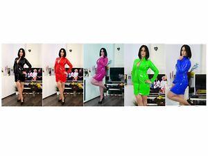 PVC COAT DRESS MAC Black White Red Blue Purple Yellow 6-16 UK New With Tags