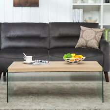 Modern Oak Wood & Tempered Glass Coffee Table  End Side Living Room Furniture