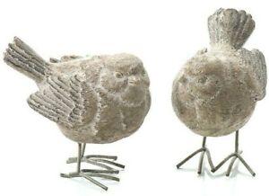2pcs Resin Sparrow / Wren Bird Garden Ornament Patio Figurine Decor