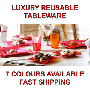 Eco-Friendly Reusable Plastic Plates Tableware Party Wedding Restaurant Catering