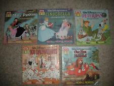 Vintage Walt Disney See Hear Read Along Books-Lot Of 5-Books Only Euc
