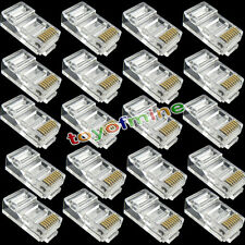 20 X RJ45 CAT6 Modular LAN Ethernet plug in oro placcato connettore di rete