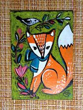 ACEO original pastel painting outsider folk art brut #010345 surreal funny fox