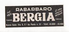 Pubblicità vintage RABARBARO BERGIA TORINO advertising reklame werbung publicitè