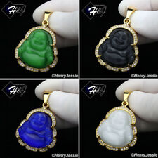 MEN Stainless Steel Jade/Onyx/Blue/White Gemstone Gold/Silver Buddha Pendant*117