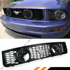 For 05-09 Ford Mustang 4.0L V6 Front Mesh Grill Dual Smoke Lens Halo Fog Lights