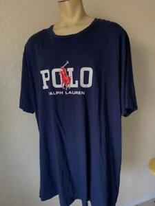 POLO RALPH LAUREN Men's Navy Blue Short Sleeve Graphic Tee Shirts w/Logo 4XLT **