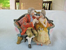 Vintage Bisque Royal Crown Cucci Victorian Man & Woman On Couch Figurine