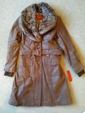 New Ladies Long Brown Vintage Leather Jacket - KAOS by Auluna Size 38