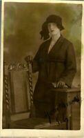 Young Lady portrait RPPC colour tint postcard antique photograph adorable chair