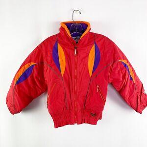 Fera Kids Youth Vintage Red Zip Up Ski Jacket Sz 10 Winter Snow Puffer
