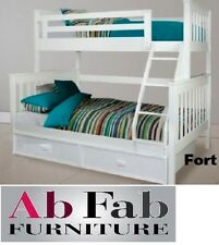 FORT SINGLE DOUBLE WHITE TIMBER TRIO BUNK BED - TRUNDLE NOT INCLUDED
