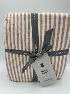 West Elm European Flax Linen Classic Stripe Full/Queen Duvet Cover ~Terracotta~