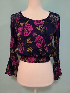 Express Long Sleeve Floral Blue/Purple Crop Top Multicolor Shirt Size XXS