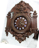 Antique German Black forest wood carved dragon satyr head clock Gothic castle