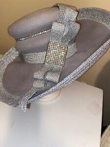 Donna Vinci Couture Exclusive / Lg Statement Silver/Grey Dress Hat