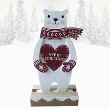 Christmas Decorations Polar Bear Ornament Figure Merry Christmas Freestanding