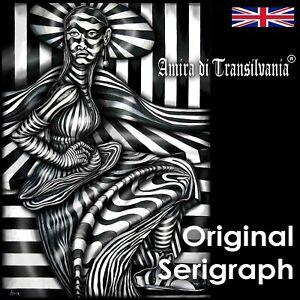 portrait woman lady pop art indipendent artist optical painting serigraph canvas
