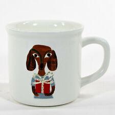 Pottery Barn CHRISTMAS PRESENT DOG 16oz Mug Ivory White Denise Fiedler NWT