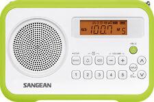 Sangean PR-D18 tragbares Radio (UKW/MW, Wecker, Batterie/Netzbetrieb) weiß/grün