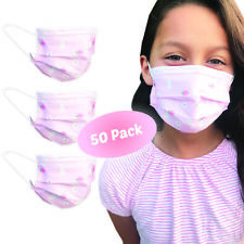 Kids Size Protective Mask Multi Layer Breathable 50 Pack Pink For Girls Face