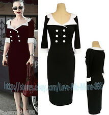 NEW Womens Vintage Rockabilly Celebrity Cocktail Party Work Mid Calf Dress SMALL