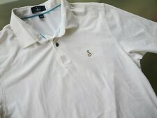 Dunhill Links Mens Polo Shirt Short Sleeve White Striped sz L Large GOLF CLUB