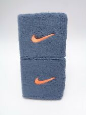 "Nike Swoosh Wristbands Blue Graphite/Bright Citrus 3"" Men's Women's"