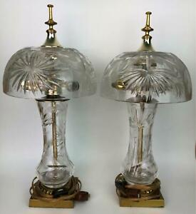 Pair of Signed DRESDEN Cut Crystal Mushroom Dome Table Lamps WORK