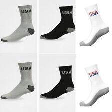 5~100 Dozen Men Women Wholesale Lots Crew Socks Sports Cotton Logo USA Gift Xmas