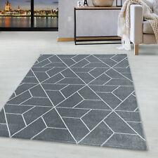 Kurzflor Design Teppich Wohnzimmerteppich Geometrisches Muster Linien Grau