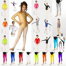 Girls Leotards Legging Long Sleeved Gymnastic Dancewear Swimwear Plain Bodysuit