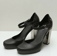 Melissa Black Pumps with Strap Chrome Chunky Heel Shoe 90's style Sz 6