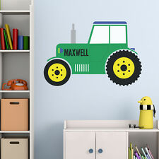 GREEN TRACTOR PERSONALISED CHILDREN'S BEDROOM PLAYROOM WALL STICKER DECAL VINYL