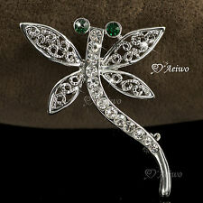 18K WHITE GOLD GP MADE WITH SWAROVSKI CLEAR GREEN CRYSTAL DRAGONFLY PIN BROOCH