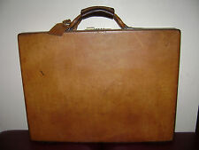 "HARTMANN BELTING BROWN LEATHER BRIEFCASE 3"" HARD CASE TRAVEL BAG LAWYER STUNNING"