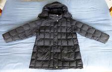 EDDIE BAUER Mens Black Quilted Goose Down Jacket Parka Coat w/ Hood Sz XXL 2XL