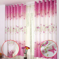 Pink Butterfly Childrens Bedroom Finished Curtain Kids Door Window Curtains RO