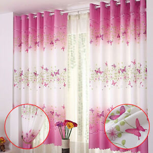 Pink Butterfly Childrens Bedroom Finished Curtain Kids Door Window Curtains US-A
