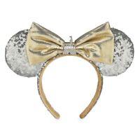 Disney Parks Cinderella Castle Silver Sequin Minnie Ears Headband Gold Bow(NEW)