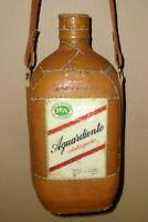 Vintage Aguardiente Antioqueño Leather Wrapped Liquor Bottle Flask Canteen