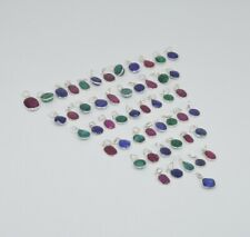 WHOLESALE 51PC 925 SILVER PLATED CUT RUBY AND MIX STONE PENDANT LOT Tk171